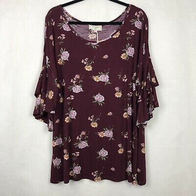 c249e47a96a No Comment Floral Top Blouse Burgundy 3 4 Ruffle Sleeve Womens Plus Size 3X  NWT