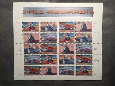 Scott Us #3333-3337 Famous Trains Sheet 20 Stamps Mint Hinged