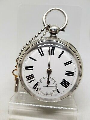 Chunky servised antique solid silver gents fusee pocket watch 1880 working re389