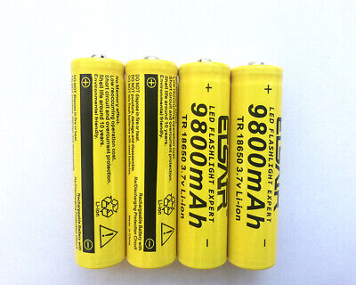 4x3.7V 18650 Batteries And 2x Charger Set For Flashlight 9800mAh Rechargeable