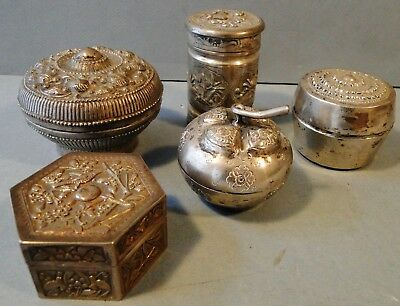 5 Antique Chinese Tibetan Solid Silver Betel Nut Covered Boxes 19Th Century
