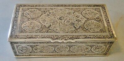 Antique Finely Decorated Islamic Qajar Solid Silver Box Birds Flowers 1890 345 G