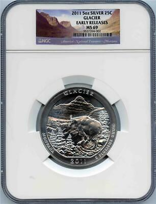2011 Glacier National Park 5 oz .999 Pure Silver 25 C NGC MS 69 Early Release