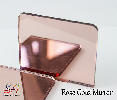 Rose Gold Mirror Acrylic 3mm thick Sheets Sample, A5, A4, A3, 100mm-600mm