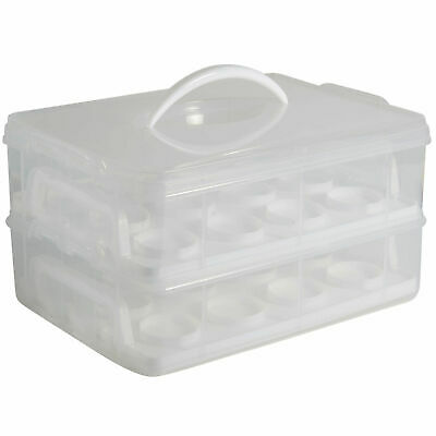 24 Cupcake Carrier Storage Snap and Stack Case Muffins Pastries Box with Handle