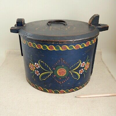 Antique 1859 Norwegian Tine Painted Storage Box Norway Bride Folk Art Rosemaling