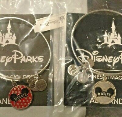 NWT Disney Alex and Ani Disney Mickey & Minnie Mouse Hat Silver Bracelets