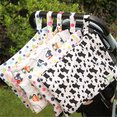 Baby Protable Nappy Washable Nappy Wet Dry Cloth Zipper Waterproof Diaper Bags H
