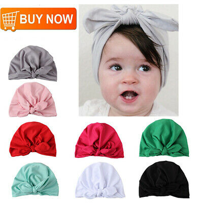 7pc Soft Cute Newborn Baby Girl Toddlers Hats Turban Knotted Headbands Head Wrap