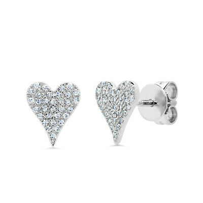0.14 CT 14K White Gold Natural Round Cut Pave Real Diamond Heart Stud Earrings