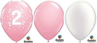 """15 x 11"""" 2nd Birthday Pale Pink White  Latex Party pack table centre piece"""