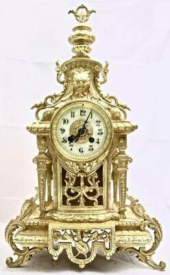 Antique Mantle Clock French Superb 1880s Embossed Pierced Bronze Bell Striking