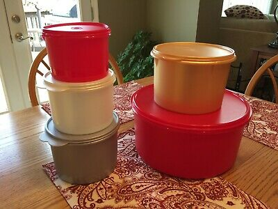 New TUPPERWARE 5 Pc Stacking Canister Set w/ Giant Cookie Canister