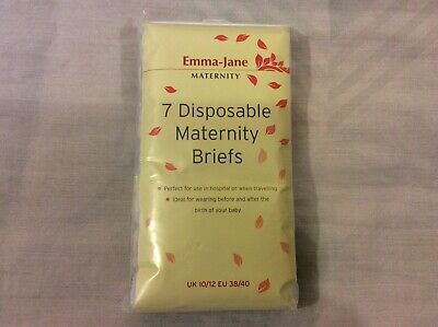 Emma Jane 7 Disposable Maternity Briefs UK 10/12 Euro 38/40 Brand New in Pack