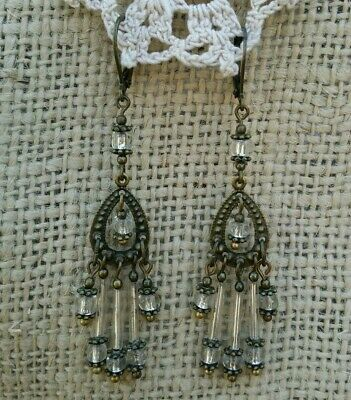 Vintage Victorian Style Earrings White Glass Bugle Bead Chandelier Dangle Drop *