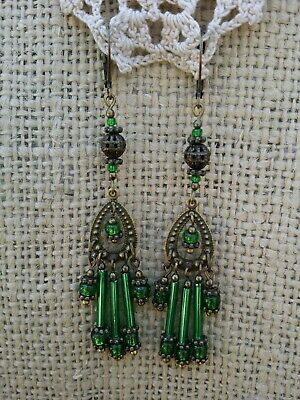 Vintage Victorian Style Earrings Green Glass Bugle Bead Chandelier Dangle Drop *