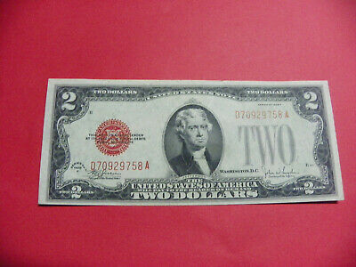 1928 F $2 Two Dollar Bill United States Uncirculated  Red Seal Note