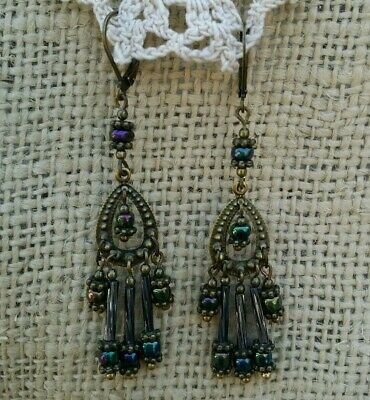 Vintage Victorian Style Earrings Peacock Blue Glass Bead Chandelier Dangle Drop*