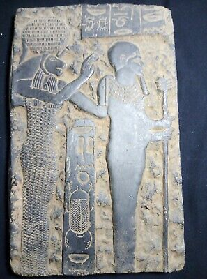 RARE ANTIQUE ANCIENT EGYPTIAN Statue Stela Goddess Sekhmet & Amun 1427-1360 Bc