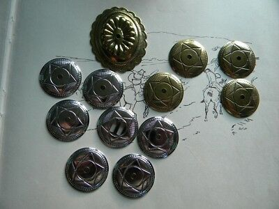 Lot of 12 Vintage Ornate   Metal Western Style  Conchos CRAFT