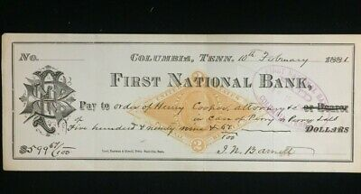 1881 First National Bank of Columbia, Tennesseee Check