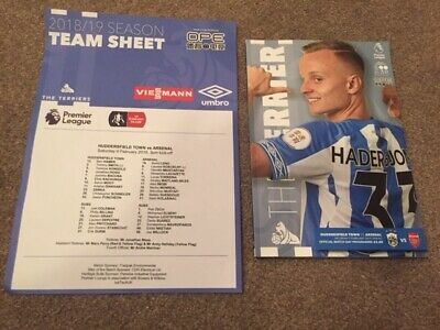 Huddersfield Town V Arsenal Premier League 2018-19 With Official Teamsheet