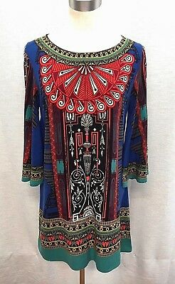 "FLYING TOMATO M/36"" Dress Boho Rayon  Blue Red Green Bell Sleeves Bold Print Zip"