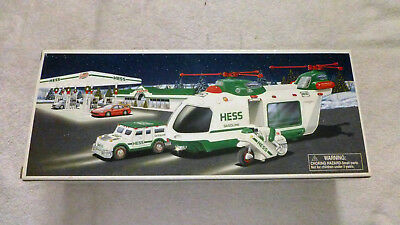 2001 HESS HELICOPTER with MOTORCYCLE and CRUISER,  MINT in its Original Box