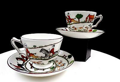 "Crown Staffordshire #12748 Hunting Scene Four Piece 2 3/8"" Footed Cups & Saucers"