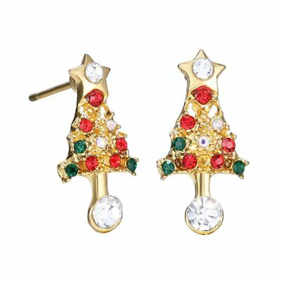 Fashion Crystal Christmas Tree Ear Stud Earrings Women Xmas Party Jewelry Gift