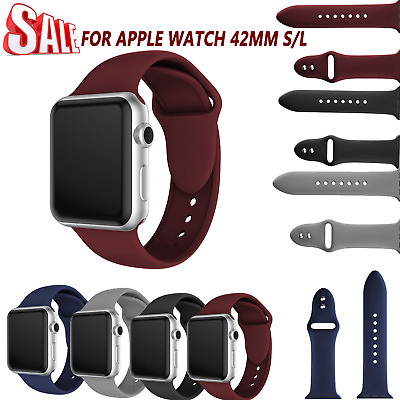 Silicone Dual Buckle Watch Band Bracelet Wrist Strap Bands for Apple Watch 42mm#