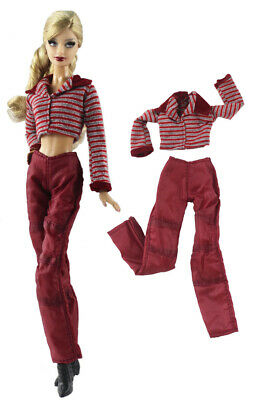 2PCS Set Red and white striped top + Red pants For 30MM Barbie Doll Barbie Dolls