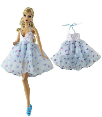 Fashion Handmade Princess Blue Dress Party dress Clothes Outfit For Barbie Doll