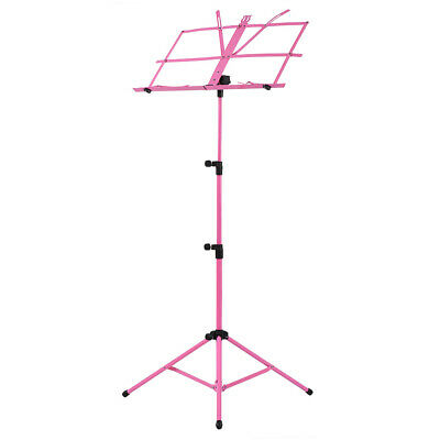 Adjustable Folding Sheet Music Tripod Stand Holder Heavy Duty Pink+Case Hot I7X6