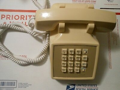 Vintage Telephone AT&T Push Button Touch-tone Almond/Beige Desk Phone