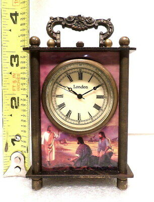 Small Wind Up Carriage Clock With Religious Scene--Jesus Recruiting 2 Disciples