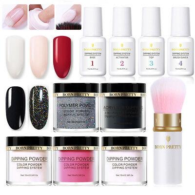 10Pcs/Set Hologarphic Nail Art Dipping Powder System Liquid with Powder Brush