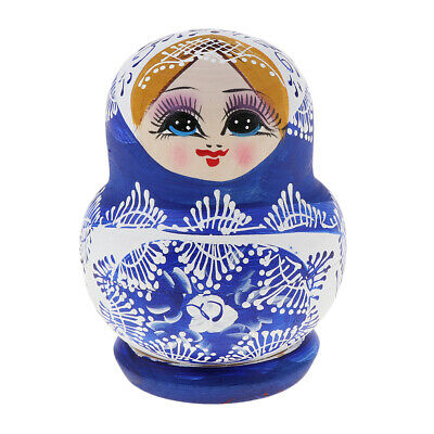 10pcs Blue Girl Russian Nesting Doll Wood Babushka Matryoshka Stacking Dolls