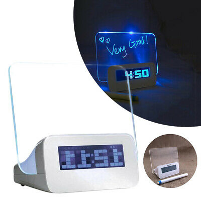 Scribble Alarm Clock LED Morning Memo Message Board With Pen Office Gadget UK