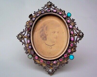 Vintage Austro-Hungarian .800 Silver Jeweled Picture Frame