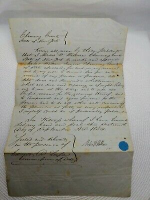 Vintage Notarized Document from 1854