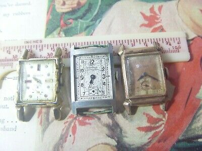 GROUP Lot- THREE 1930s-50s Swiss Gents Avalon Bulova 14K ROSE on Sterling & MORE
