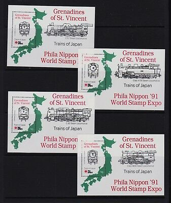 St. Vincent Grenadines - Trains of Japan set, Mint, NH