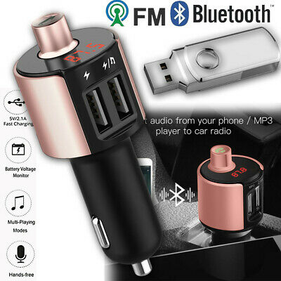 Bluetooth Car Kit FM Transmitter Wireless Radio Adapter USB Charger Mp3 Player +