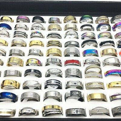 Wholesale Mix 100pcs Stainless Steel Rings for Men Women Jewelry wedding bands