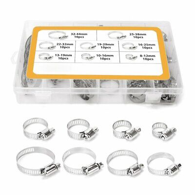 80Pc Assorted Stainless Steel Hose Clamp Kit With No Driver- Jubilee Clip Set