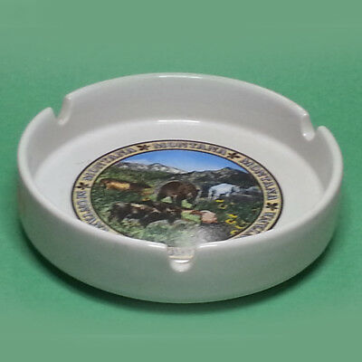 """Cigarette Ashtray MONTANA Round Shape 5"""" in Diameter Collectible Vintage"""