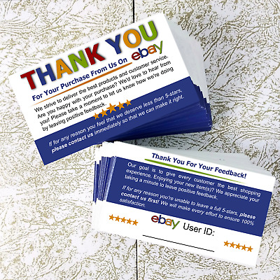 1000 Ebay Thank You Business Cards Professional Seller Feedback Request Notes