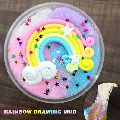 60ml Rainbow Star Colorful Fluffy Fluff Floam Slime Schleim für Stressabbau DIY