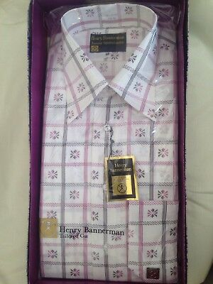 Vintage Henry Bannerman Boxed Mens Shirt, In Wine, Size 16 Collar